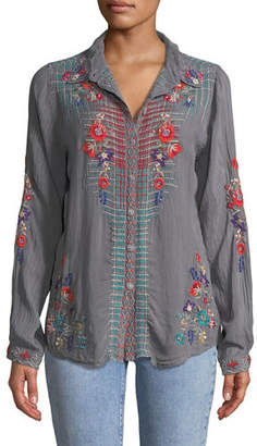 Johnny Was Long-Sleeve Plaid-Embroidered Button-Front Top, Plus Size