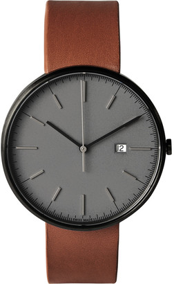 Uniform Wares M40 PVD-Plated Stainless Steel and Leather Wristwatch $600 thestylecure.com