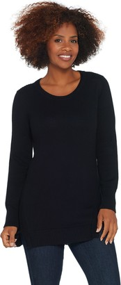 Halston H By H by Crew-Neck Tunic Sweater with Forward Notch Detail