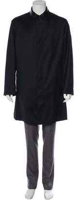 Versace Leather-Trimmed Wool Car Coat
