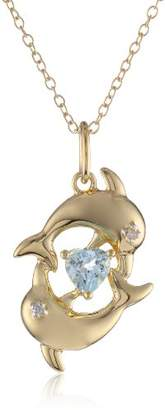 18k Gold Plated Sterling Silver Genuine Sky Blue Topaz and Diamond Accent Dolphins Pendant Necklace