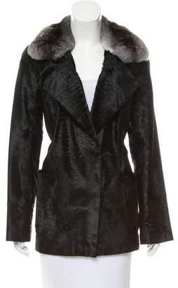 Oscar de la Renta Chinchilla Fur-Trimmed Broadtail Coat