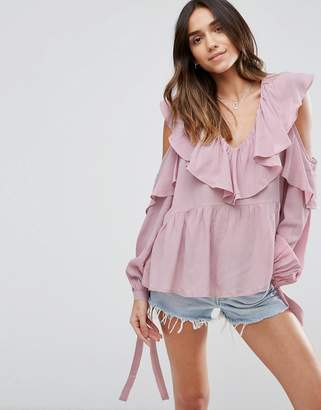 ASOS Cold Shoulder Blouse with V-Neck and Ruffles $54 thestylecure.com