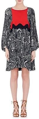 Chloé WOMEN'S FLORAL GAUZE SHIFT DRESS - NAVY SIZE 40 FR