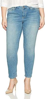 Junarose Women's Plus Size Five Slim Glitter Ankle Jean