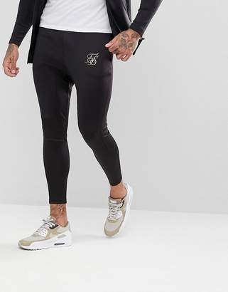 SikSilk Skinny Track Joggers In Black With Gold Logo