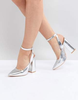 Lost Ink Silver Block Heeled Ankle Tie Shoes