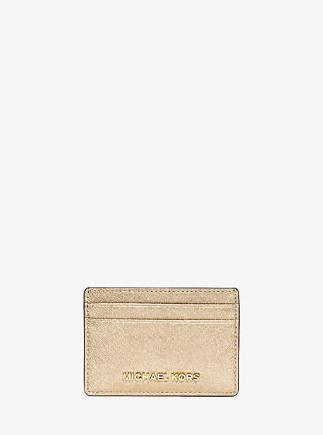 Michael Kors Jet Set Travel Metallic Saffiano Leather Card Case - GOLD - STYLE