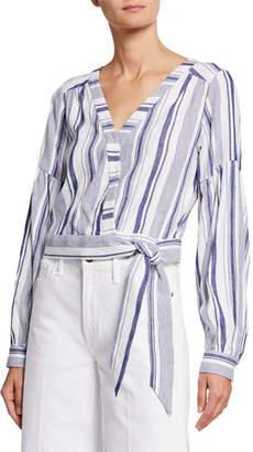 Parker Saskia Striped Long-Sleeve Blouse w/ Tie-Hem