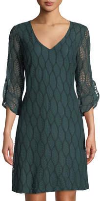 Karl Lagerfeld Paris Leaf-Lace Tulip-Sleeve Shift Dress