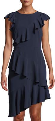 Maggy London Asymmetric Ruffled Sheath Dress
