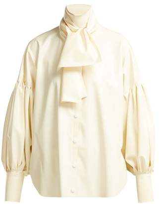 Hillier Bartley - Pussy Bow Latex Blouse - Womens - Cream