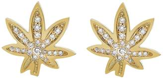 Established Cannabis Diamond Pavé Stud Earrings - Yellow Gold