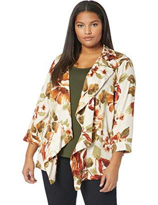 Alfred Dunner Women's Size Plus Floral Bouquet Printed Unconstructed Jacket