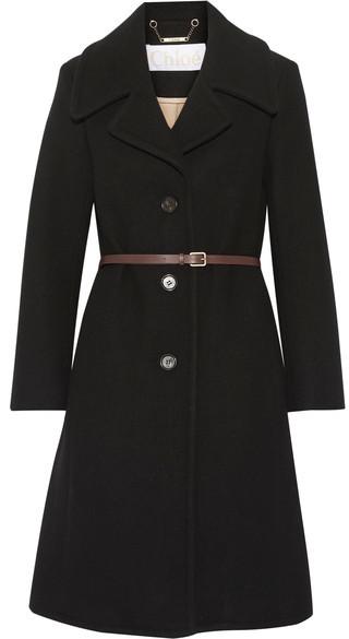 Chloé Chloé - Iconic Wool-blend Coat - Black