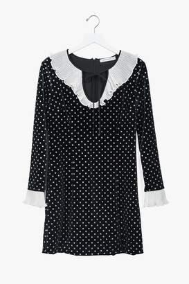 Genuine People Polka Dot Ruffle Velvet Midi Dress