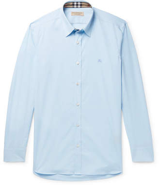 Burberry Slim-Fit Stretch-Cotton Poplin Shirt - Men - Sky blue