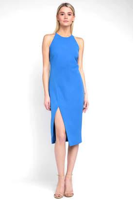 Bardot Halter Vera Open Back Crepe Slim Dress