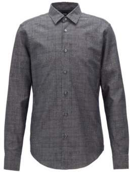 BOSS Hugo Slim-fit shirt in cotton jacquard houndstooth patterns M Grey