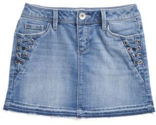 Big Girls Lace Up Side Denim Skirt