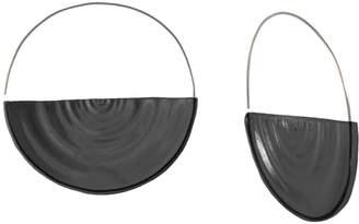 "MARIE JUNE""¢ Jewelry - Half Ripples Smokey Black Hoops"