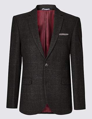 M&S Collection Brown Wool Rich Tailored Fit Jacket