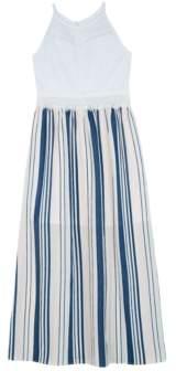 BCX Big Girls Lace-Bodice Striped Maxi Dress
