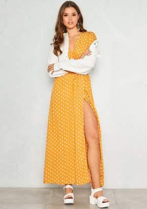 7ad2ff5a43 Missy Empire Missyempire Hannah Mustard Polkadot Wrap Front Maxi Dress