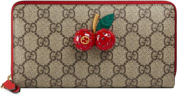 Gucci GG Supreme zip around wallet with cherries