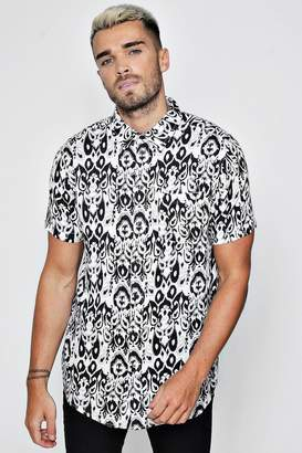 boohoo Tribal Print Short Sleeve Shirt