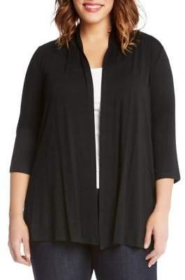 Karen Kane Plus Plus Knit Open-Front Cardigan