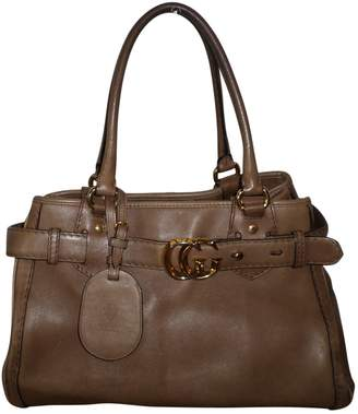 Gucci Vintage GG Running Brown Leather Handbag