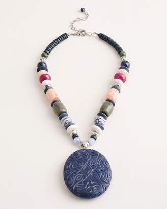 Chico's Chicos Short Beaded Multi-Colored Pendant Necklace
