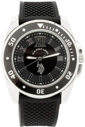 U.S. Polo Assn. USPA Mens Black Silicone Strap Sport Watch