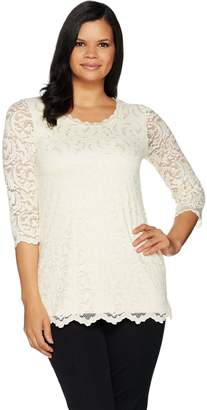 Isaac Mizrahi Live! Stretch Floral Scroll Lace 3/4 Sleeve Tunic