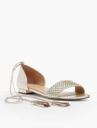 Talbots Keri Tasseled Ankle-Strap Sandals - Gold