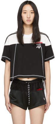 adidas By Alexander Wang by Alexander Wang Black and White Cropped Disjoin Jersey T-Shirt