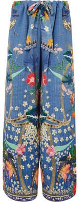 Camilla Printed Silk Crepe De Chine Wide-leg Pants - Light blue