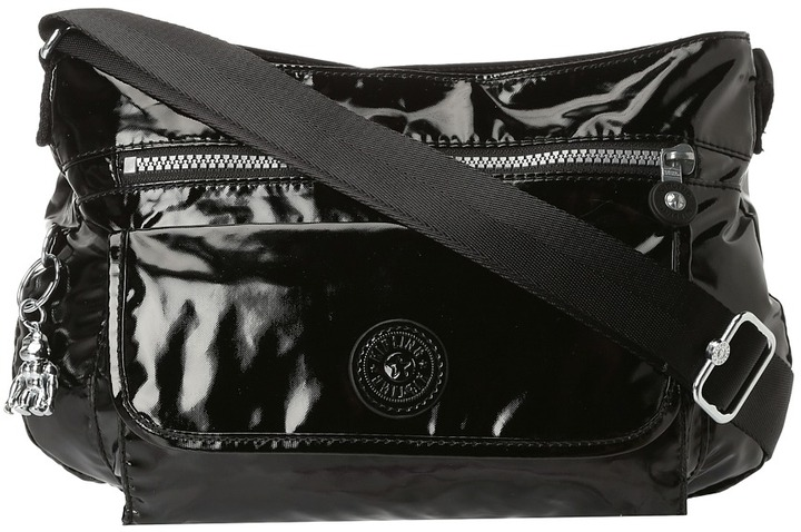 Kipling Syro Shoulder/ Cross Body Bag (Black Patent) - Bags and Luggage