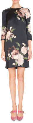 Erdem Emma Crewneck 3/4-Sleeve Floral-Print Silk Shift Dress