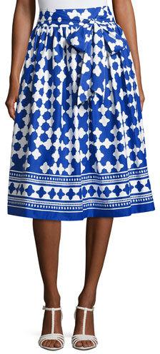 Kate Spade New York Lantern Poplin Tie-Waist Midi Skirt, Blue/White