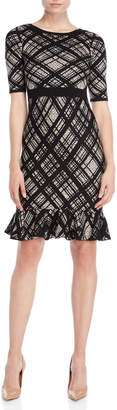 Taylor Plaid Flounce Sweater Dress