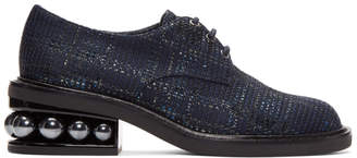 Nicholas Kirkwood Navy Metallic Weave Casati Pearl Derbys