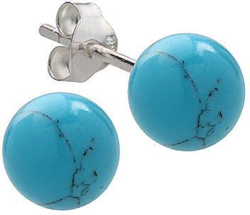 JCPenney STERLING SILVER EARRINGS Imitation Turquoise Ball Stud Earrings