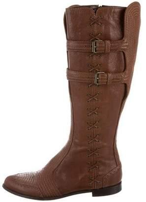 Alexander McQueen Whipstitch Knee-High Boots