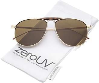 Zerouv Oversize Metal Double Nose Bridge Ultra Slim Temple Flat Lens Aviator Sunglasses
