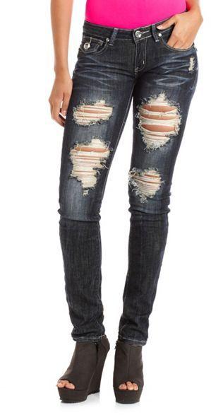 Charlotte Russe Embellished Pocket Dark Wash Skinny Jean