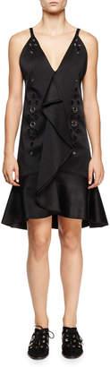 Proenza Schouler Eyelet-Embellished Ruffle-Front Dress, Black