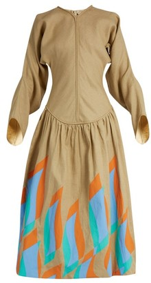 J.W.Anderson Swoosh Print Dropped Waist Linen Dress - Womens - Camel
