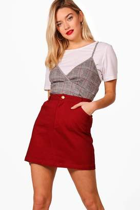 boohoo Micro Mini Coloured Denim Skirt